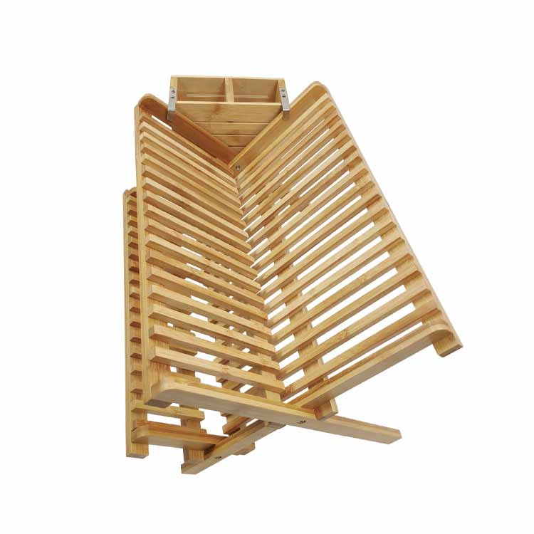 100% Natural Moso Bamboo Foldable Dish Rack Plate Rack Bamboo Dish Drying Rack
