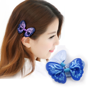 Cheap Fashion grosgrain ribbon hair clip butterfly