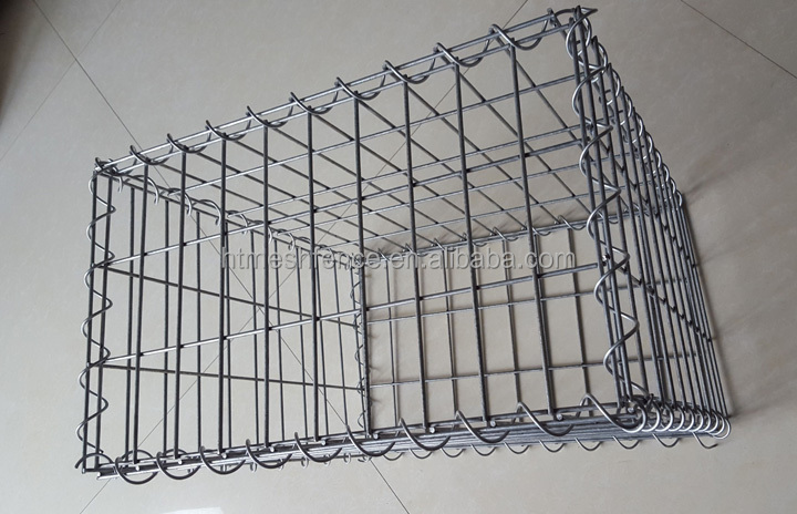 Small Welded Mesh Gabion Boxes filled with stone for garden decorations