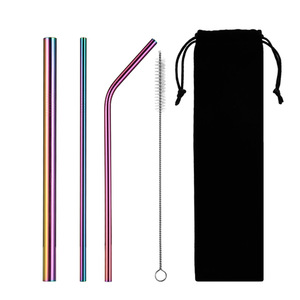 215*6mm FDA Certified Eco Friendly Stainless Steel 304 Colorful Bent Straight Straw With Cleaning Brush