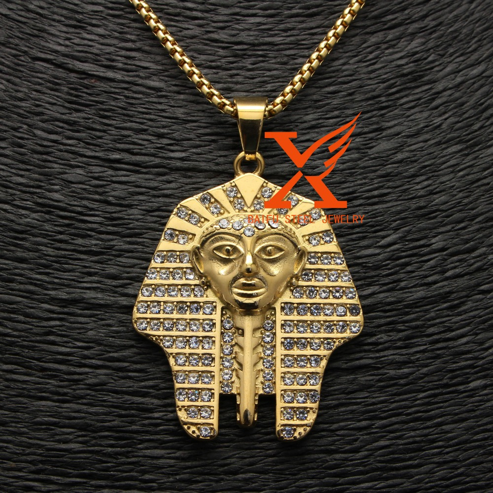 Stainless Steel 18k Gold Plated Pharaoh Pendant Iced Out Hip Hop Pendant