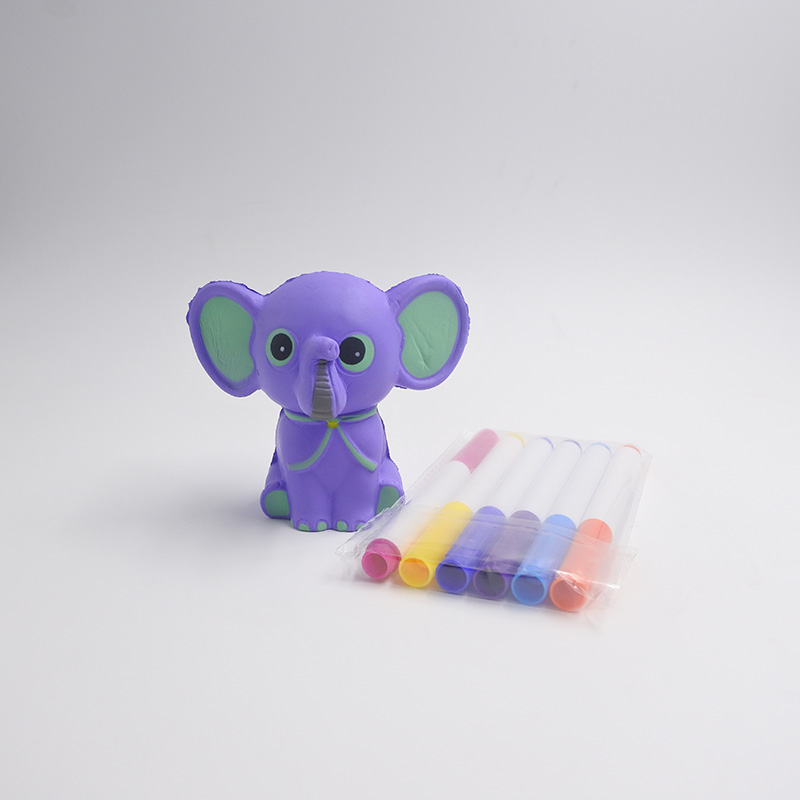 Creative Special Paint Markers PU Squishy Elephant Blank Statue Painting Kit Toy For Children