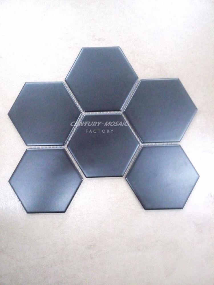 Klassische Geschliffen Schwarze Hexagon Big Keramik Mosaik
