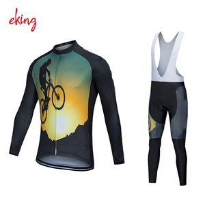 custom high quality sublimation printing cycling jerseys men's long sleeve cycling gear