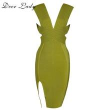 Олень леди $9,9 только! Распродажа! Желтое Бандажное Платье облегающее Клубное вечернее платье знаменитостей(Китай)