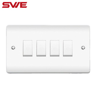 white 4 gang 1 way/ 4 gang 2 way electric wall switch factory wholesale price