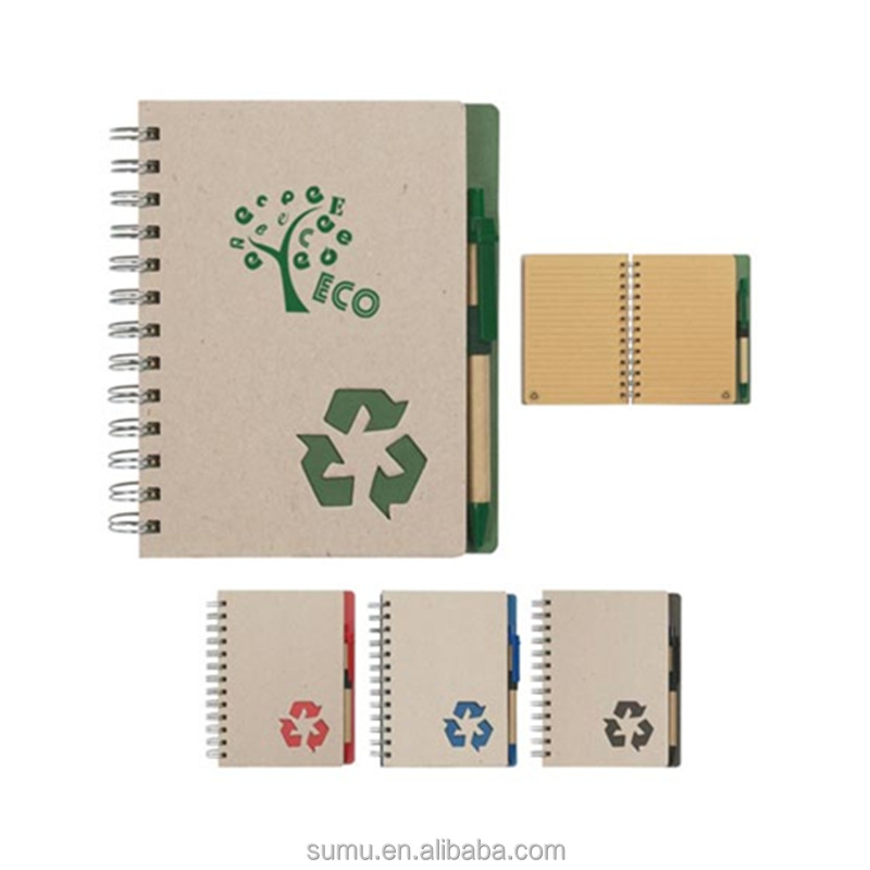 die cut customized logo printed recycled notebook with pen