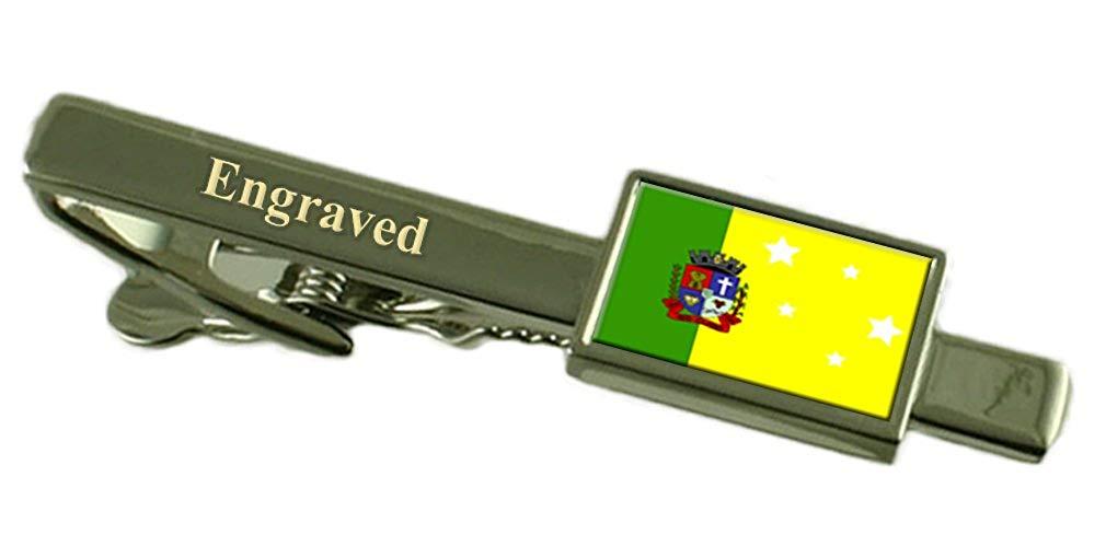 Cantagalo City Rio de Janeiro State Gold-tone Flag Cufflinks Engraved Box