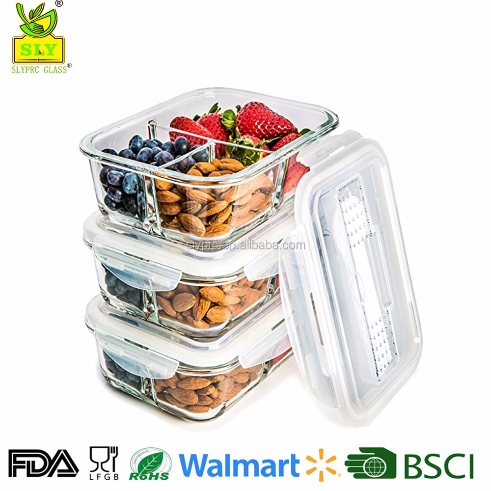 2017 new 3 compartments heat-resistant glass lunch box/food container with lid ,Airtight, Certified BPA-Free FDA