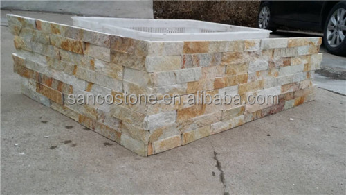 Yellow Slates Natural Quartzite Culture Stone Wall Tiles
