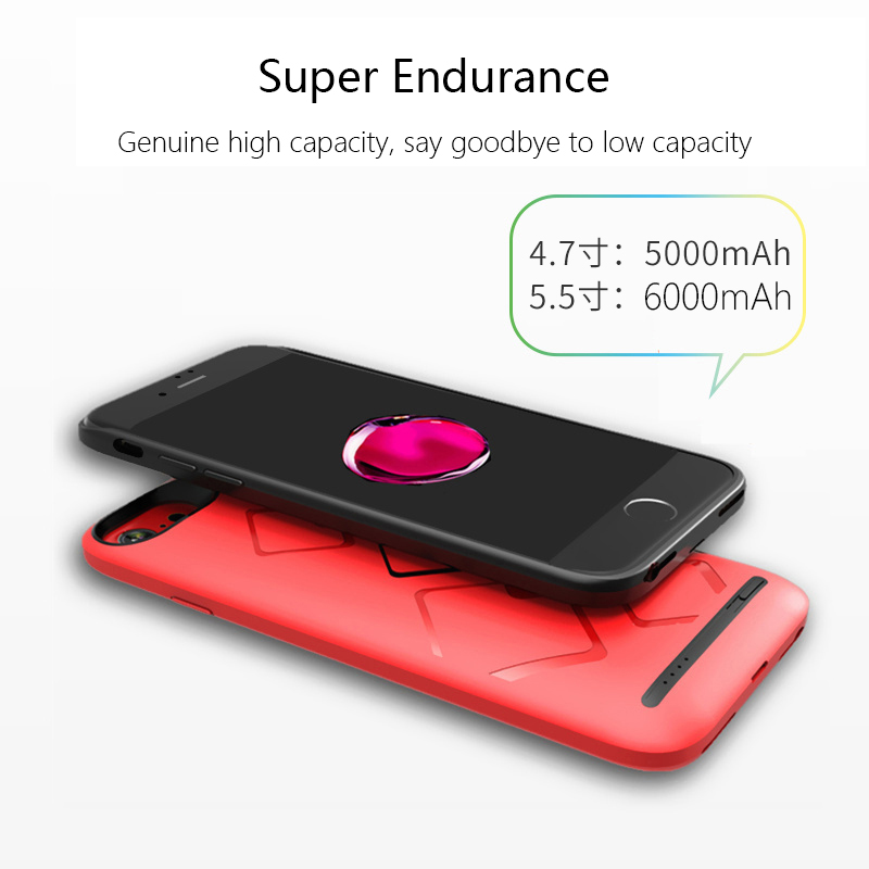 2017 New Designed High Capacity Battery Case Quick Charging Power Bank for iPhone 6/7