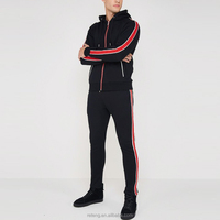 Wholesale 2018 OEM Two Pieces Clothes Popular Mens Striped Sets Hoodies Tracksuits Sportswear