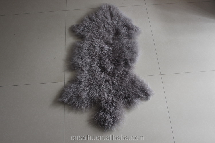 Mongolian fur rugs dining chairs genuine superior Tibetan sheepskin for a nordic look