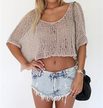 Hot Selling Short Sleeve Loose Crochet Knitted Crop Top Buy Crop