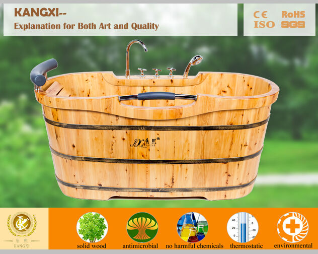 Chinese soaking hot tub,wooden cheap freestanding outdoor barrel bathtub