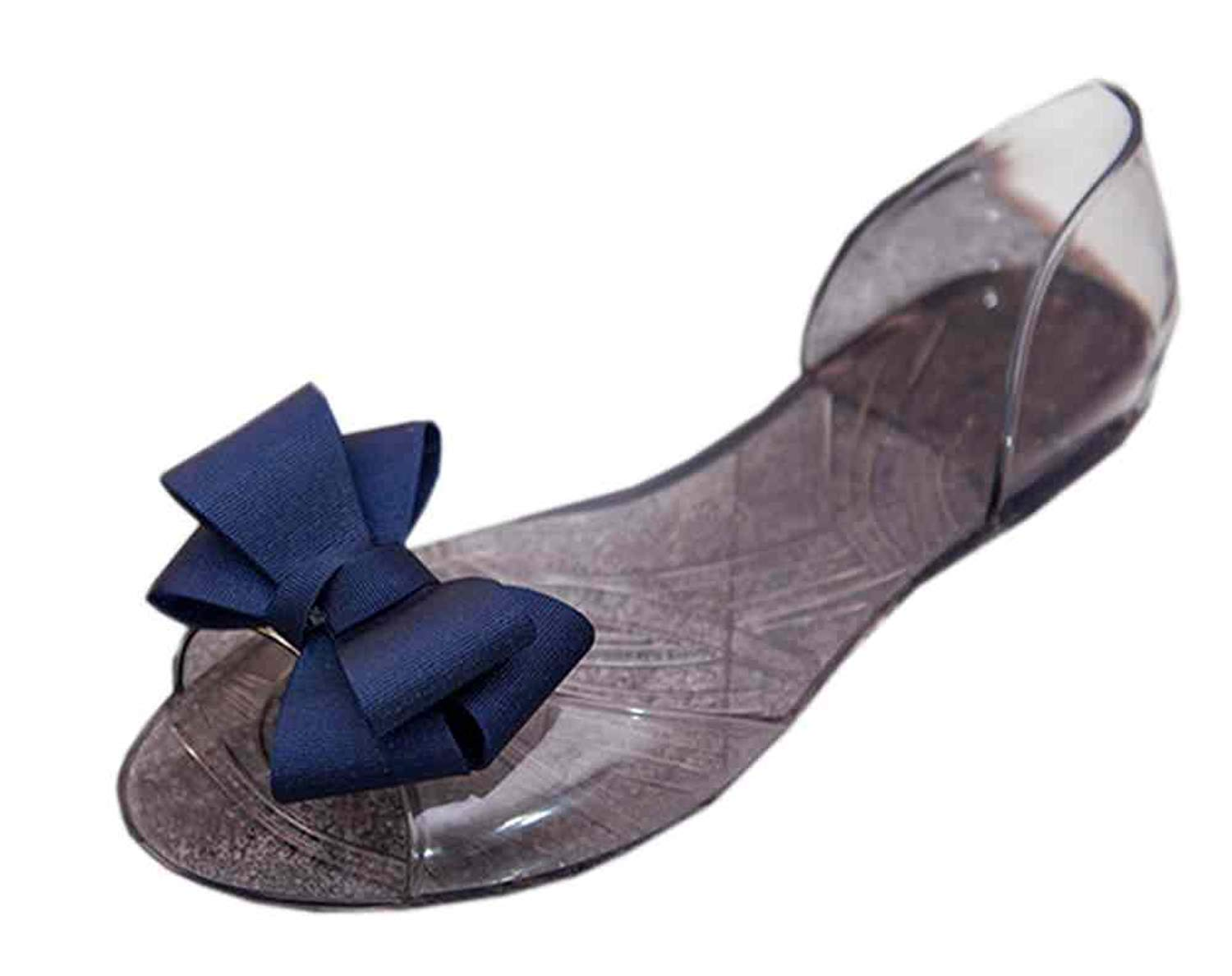 954cc0f2a12a Get Quotations · Vokamara Women Ribbon Bow Jelly D Orsay Flats Slip On  Ballet Shoes