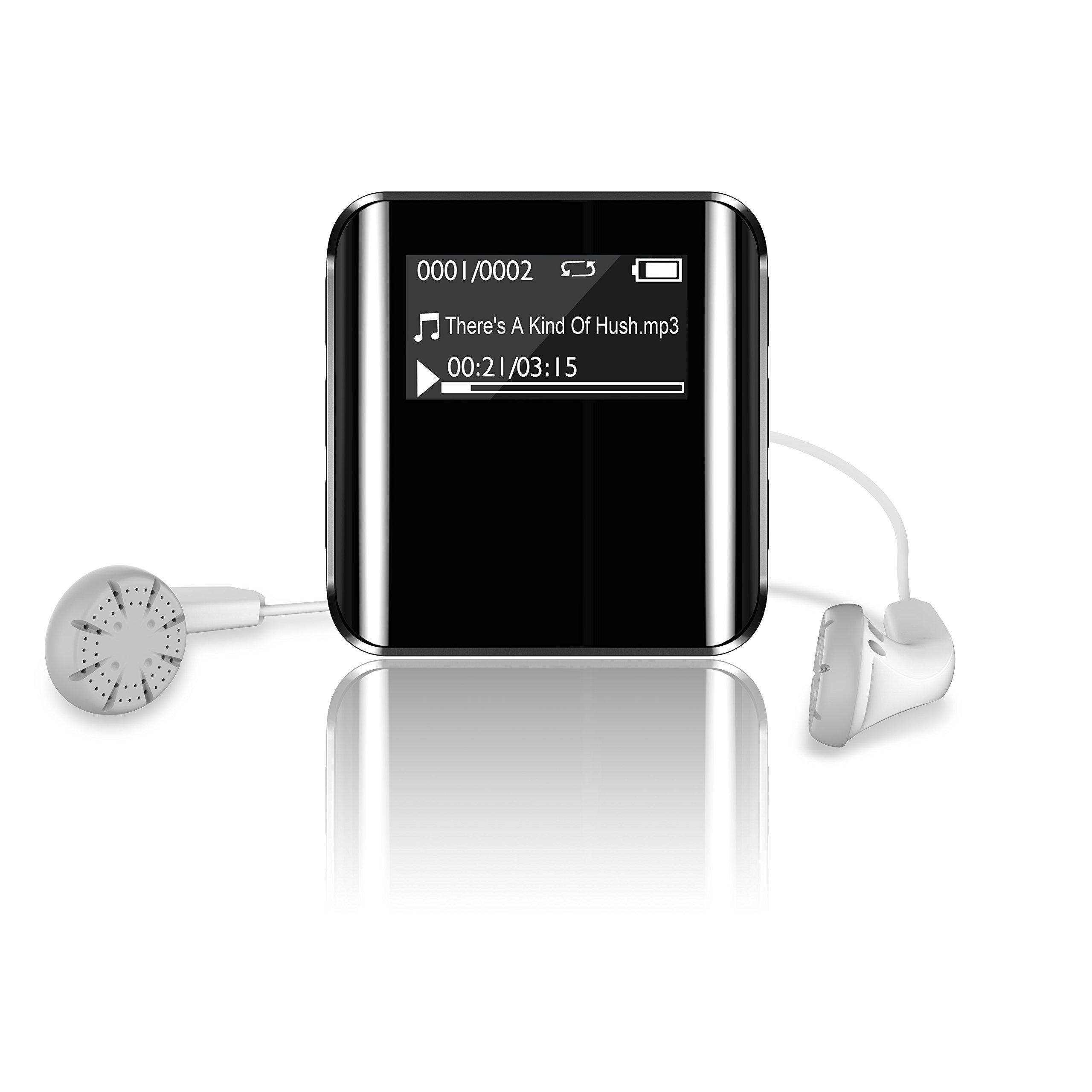 Dansrue Music MP3 Player 8GB Lossless Hi-Fi Sound, Portable Clip Sport Audio Player with Voice Recorder FM Radio and E-Book, Mini size, Black