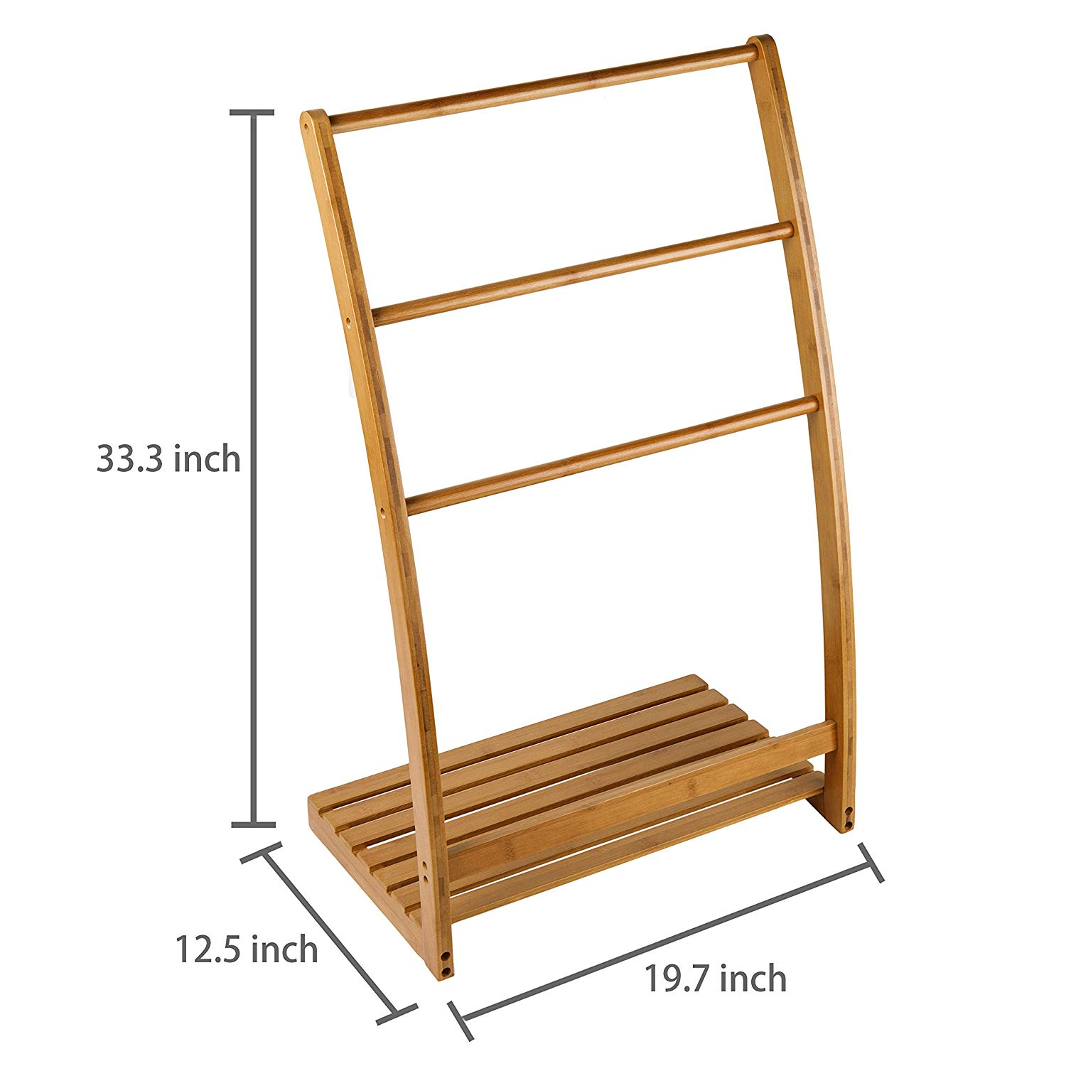 Freestanding Standing Wood Corner Towel Holder Bamboo Ladder Stand Bathroom Racks Rack