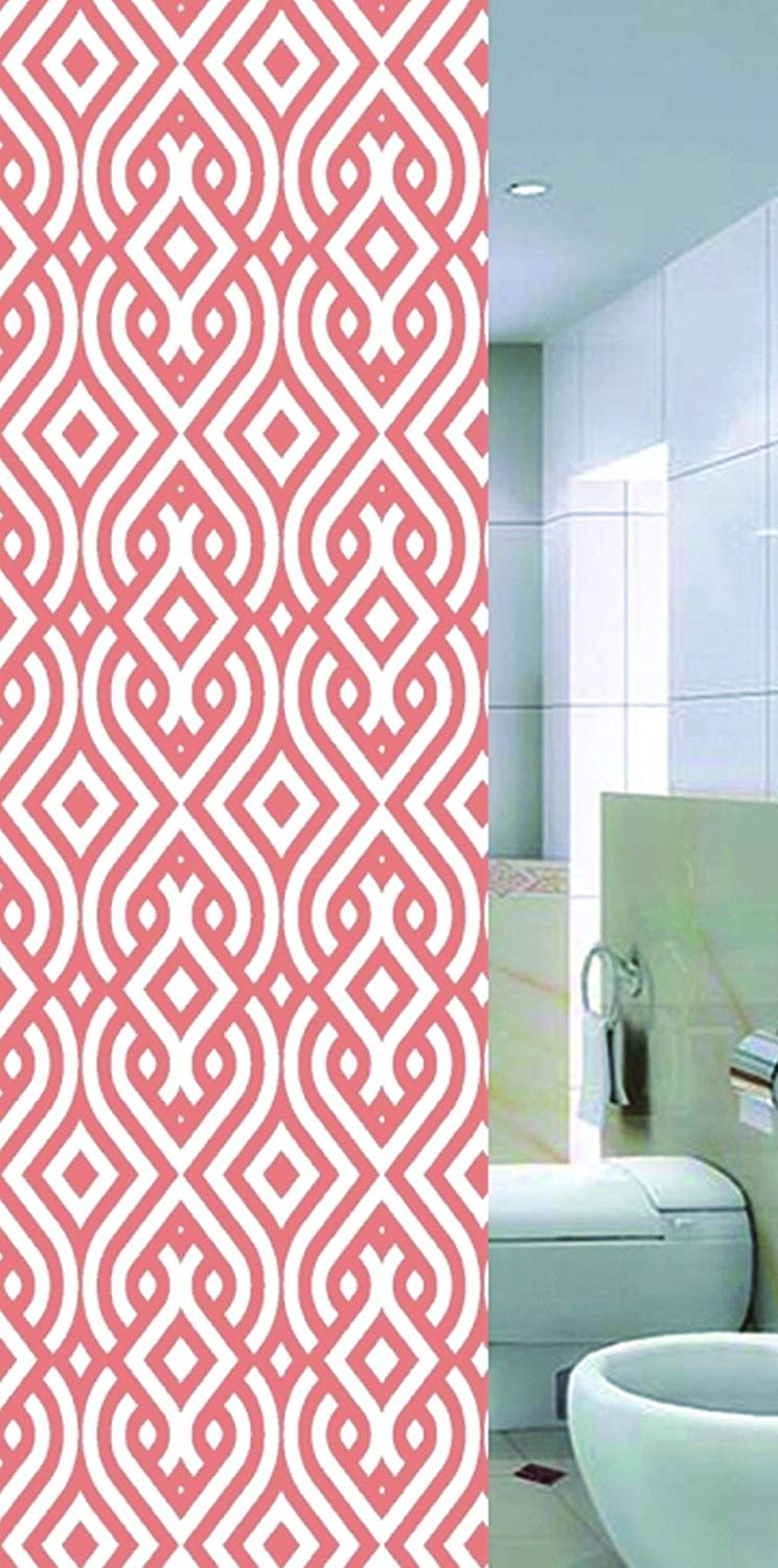 """MINEL Printed Shower Curtain, Water Repellant/Mold Resistant, Fabric Shower Curtain, 72"""" x 72"""" inches, (Orange Geometric)"""