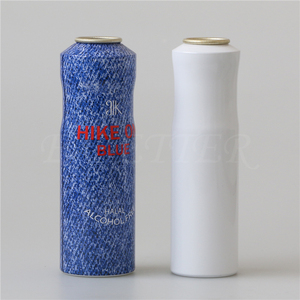 colorful empty aluminium aerosol can for water spray