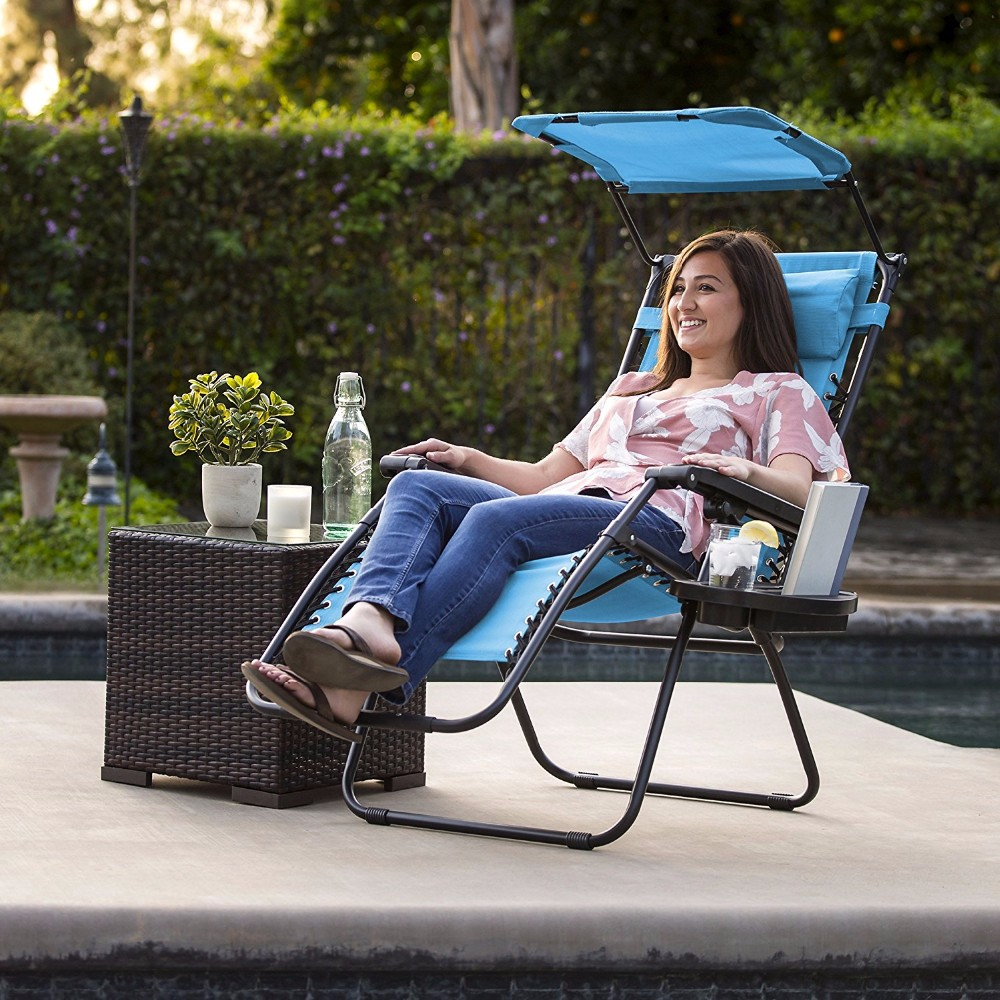 Deck Folding Recliner Zero Gravity Outdoor Chair SUNMER Set of 2 Sun Lounger Garden Chairs With Canopy and Cup Holder Black