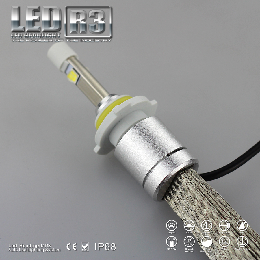 Новые R3 1 компл. 80 Вт 9600lm 9006 HB4 кри из светодиодов фар туман дальнего света комплект 6000 К белый H1 H3 H4 H7 H8 H9 H10 9005 9006
