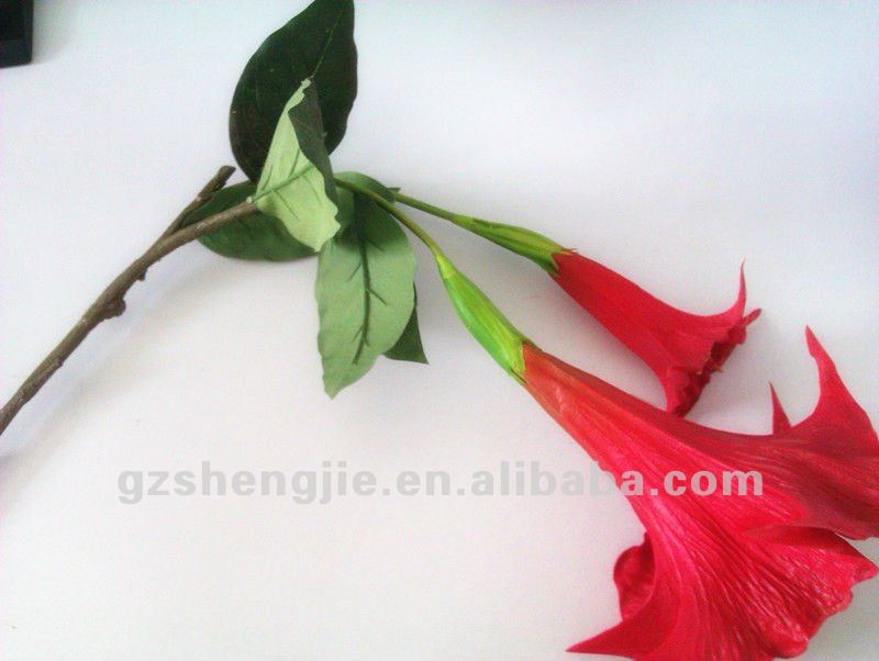 SJ High Quality Exquisite Artificial flowers PU red morning glory