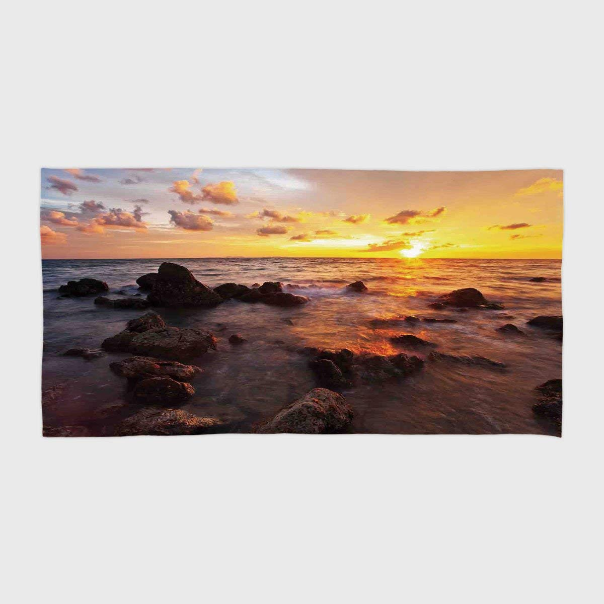 One Side Printing Hotel SPA Beach Pool Bath Hand Towel,Coastal Decor Sunrise on the Beach Colorful Clouds Stones Exotic Journey Tranquil Scenic Picture,for Kids Teens and Adults