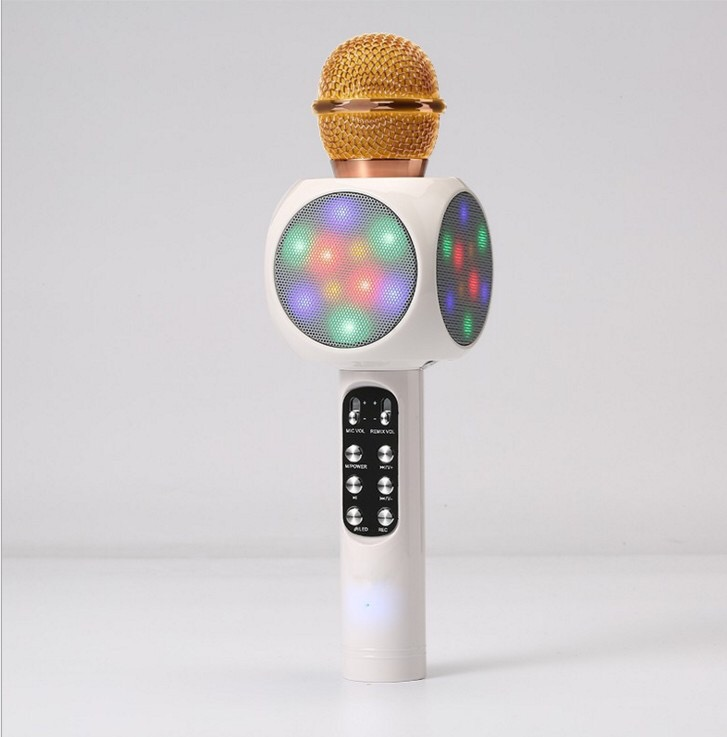 LED Sem Fio Microfone Com MICROFONE bluetooth Speaker Suporte TF/USB/MP3