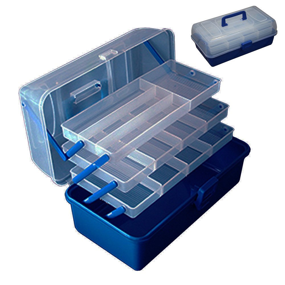 Oak-Pine Multifunction Fishing Tackle Box Lure Accessory Storage Hand Box Angling Tool Case Portable Arts Crafts Organizer Case with 3 Translucent Layers & Adjustable Dividers