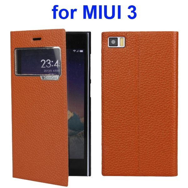 Litchi Texture Flip Genuine Leather Cover Case for Xiaomi MI3 with Caller ID Display Window