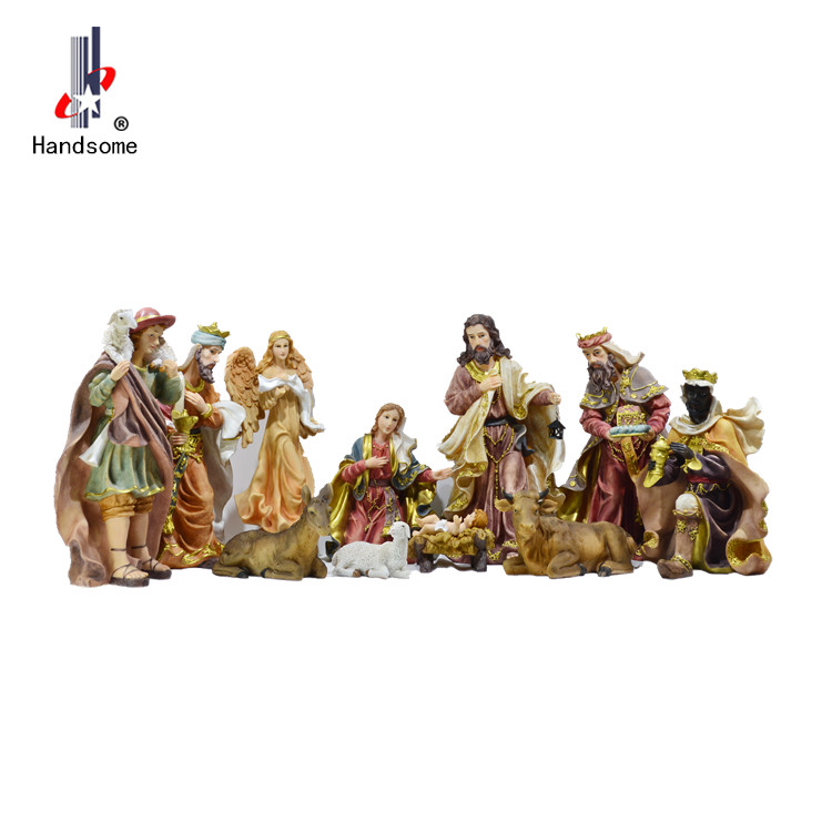 Good Quality Resin holly family hand christmas crib carved outdoor christmas nativity set