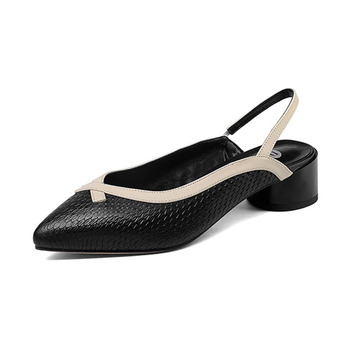 Hot sale black white snake texture leather upper sling back straps casual women sandals shoes