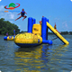 Summer Floating Inflatable Climbing Water Tower / High Inflatable Water Jumping Tower With Water Blob