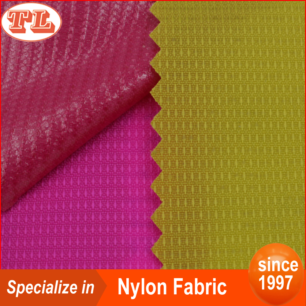 Water proof 210 denier jacquard pattern nylon jaquard fabric with pu coated for bags