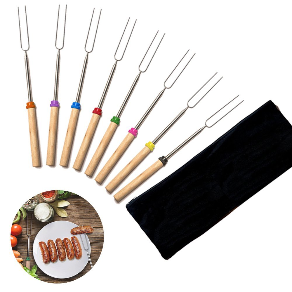Marshmallow Roasting Sticks, Set of 8 Barbecue BBQ Skewers, 32-inch Long Extended Telescoping Stainless Steel Smores Skewers Hot Dog Forks with Wooden Handle for Campfire,fire pit,Camping