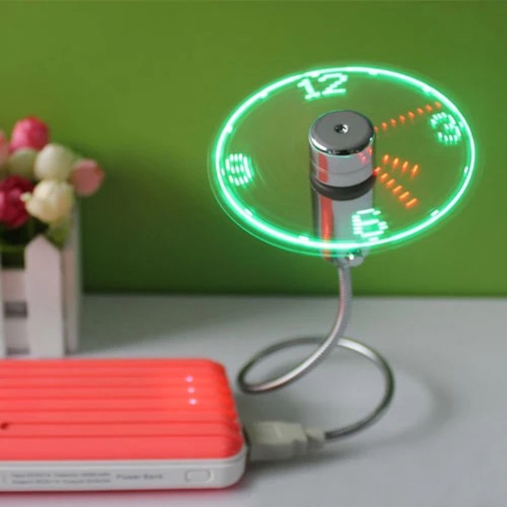 Wholesale Gift Flexible Stand USB Mini Electric LED Light Time Display Clock Fan