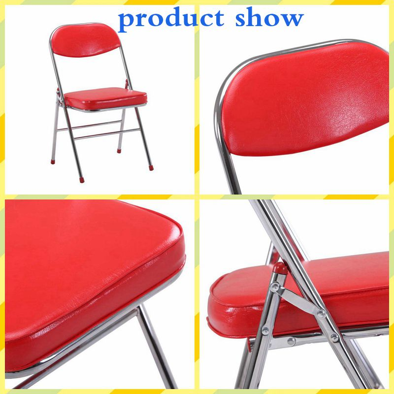 Free sample stackable metal foldable chair for wedding cheap colorful garden chair red pu leather folding chair