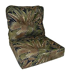 "Tommy Bahama Fabric - Tan, Black, Green Tropical Palm Leaf Cushion for Patio Outdoor Deep Seating Furniture Chair - Choice of Size (SEAT CUSHION - 24"" W X 27"" D / BACK CUSHION - 24"" W X 21"" D)"
