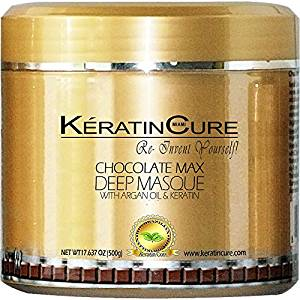 KERATIN CURE - Deep Hair Reparation Masque 500 g / 15 Oz Chocolate Max with Argan Oil - Shea Butter Conditioning Moisturizing Hair Treatment