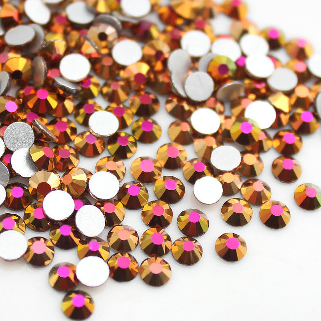 Fashion Colors Round Crystal 4MM Rose Gold Rhinestone for Garment Transfer