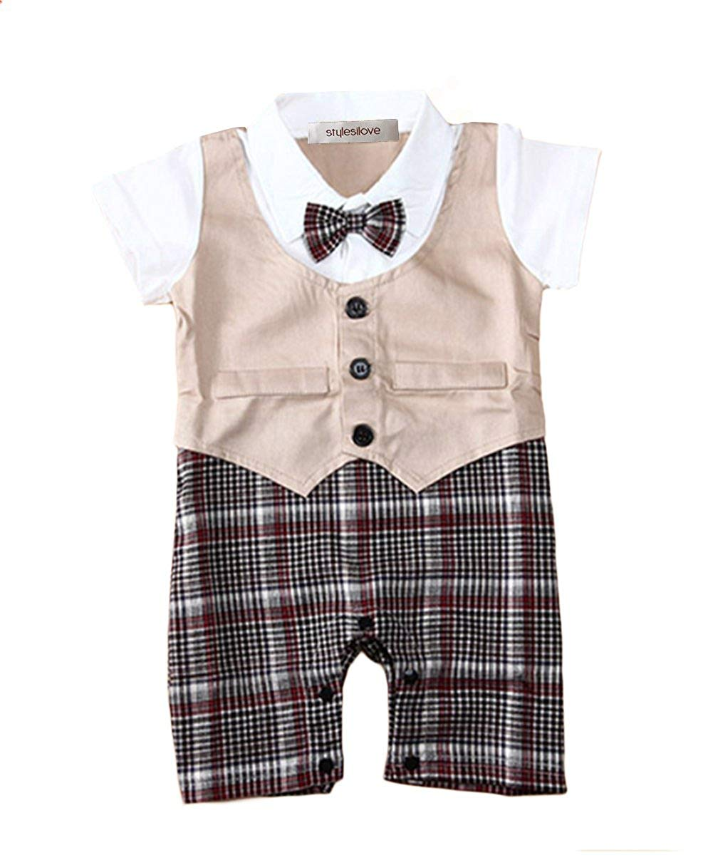 5b485ed79 Get Quotations · stylesilove Baby Boy Checkered Formal Wear Overalls Romper  Onesie