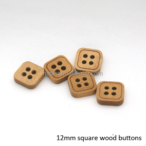 12mm fancy 4-hole square wood buttons light brown colors WOOD-018