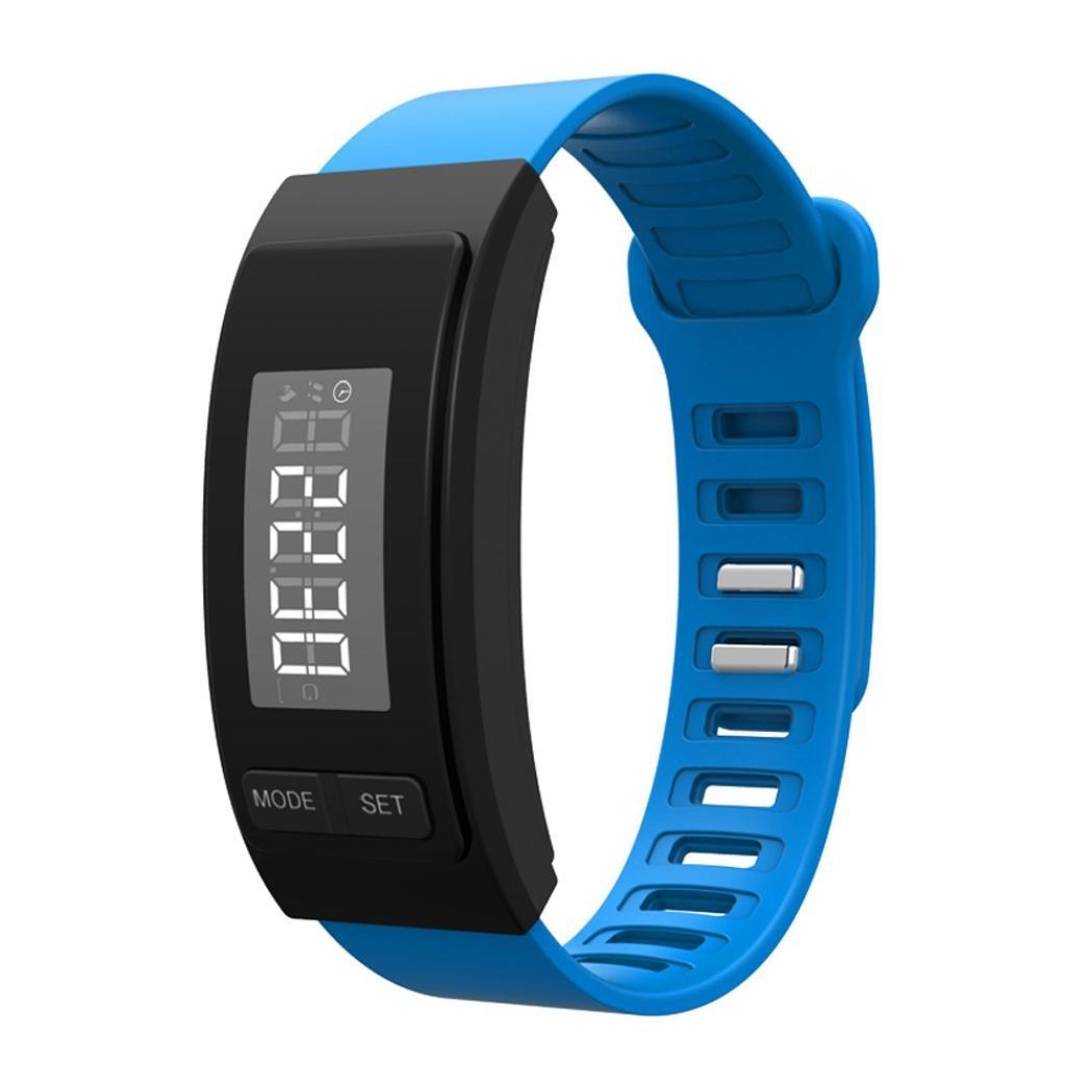 Voberry Digital LCD Sport Smart Bracelet Running Fitness Tracker Pedometer Bracelet BU (blue)