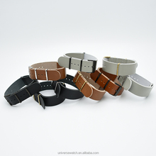 Wholesale price best quality custom colors one piece nato genuine leather watch bands strap 22mm