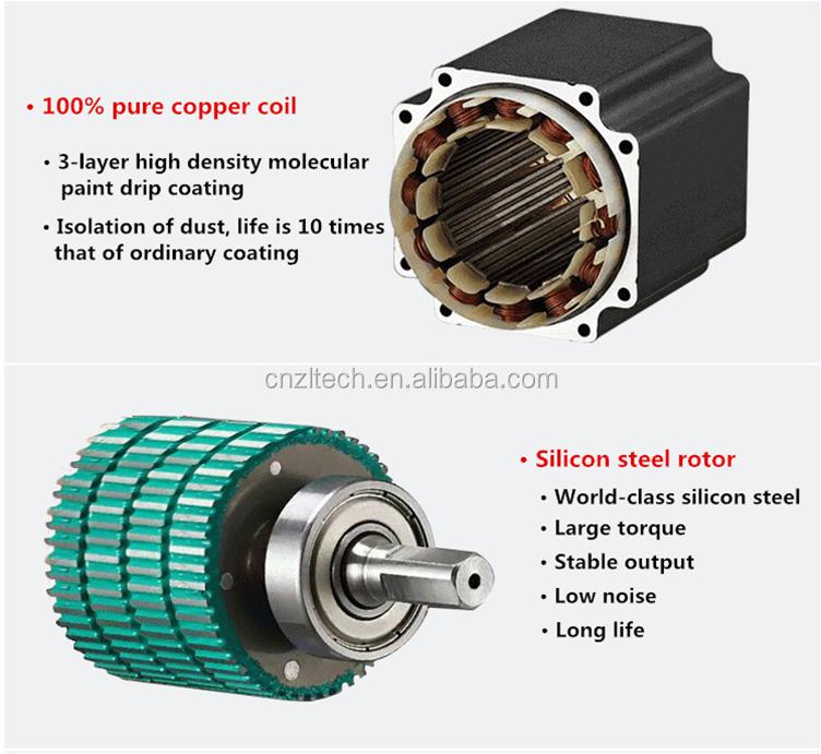 ShenZhen ZLTECH integrado motor de passo híbrido elétrico DC 24V 2N. m único eixo nema do motor de passo fase 2 23 para 3D impressora