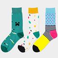 New happy socks gentlemen fashion cotton colorful Quilted Jacquard line hit color business Leisure men s