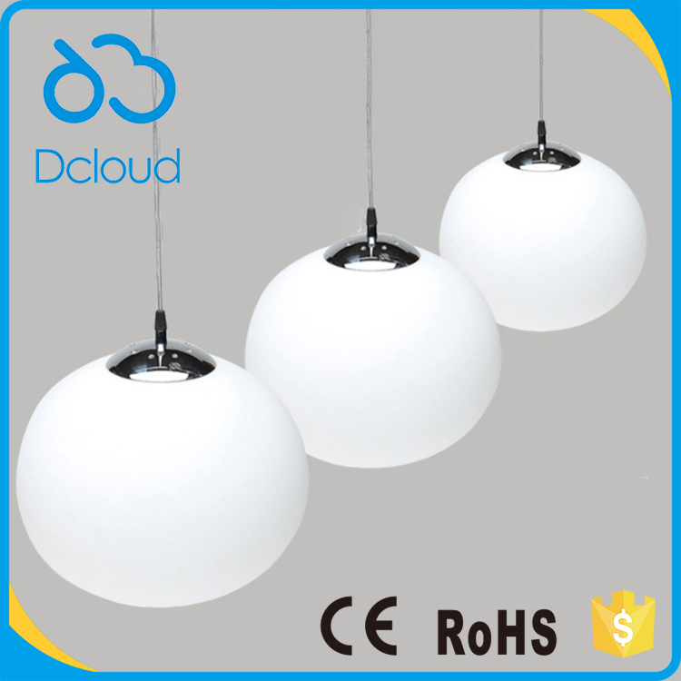 Dcloud Fashion 20CM Simple Head White Globe LED Glass Pendant <strong>Light</strong> Contemporary for Reaturant Cloth Bar Coffee Shop
