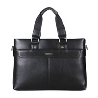 china man black leather bags briefcase genuine leather laptop bag shoulder strap