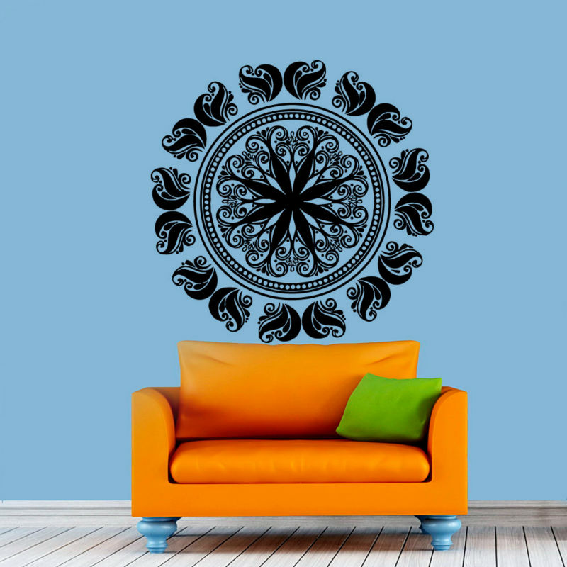 2016 PVC Removable Mandala Wall Stickers Living Room Art Murals Indian Religious Pattern Home Decor